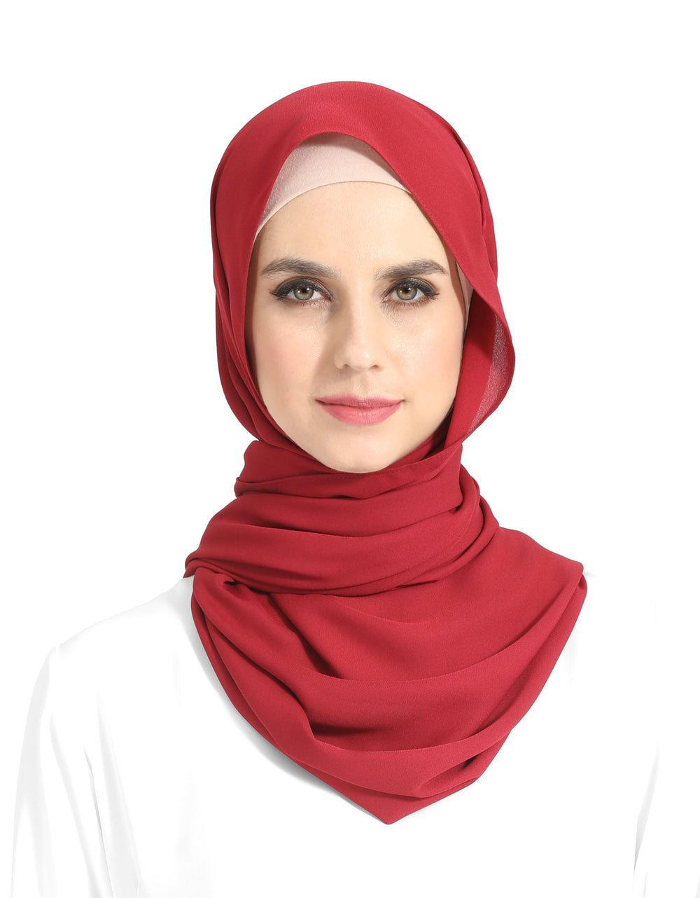 Double Georgette Chiffon Shawl Col. 7 (Cherry Red)