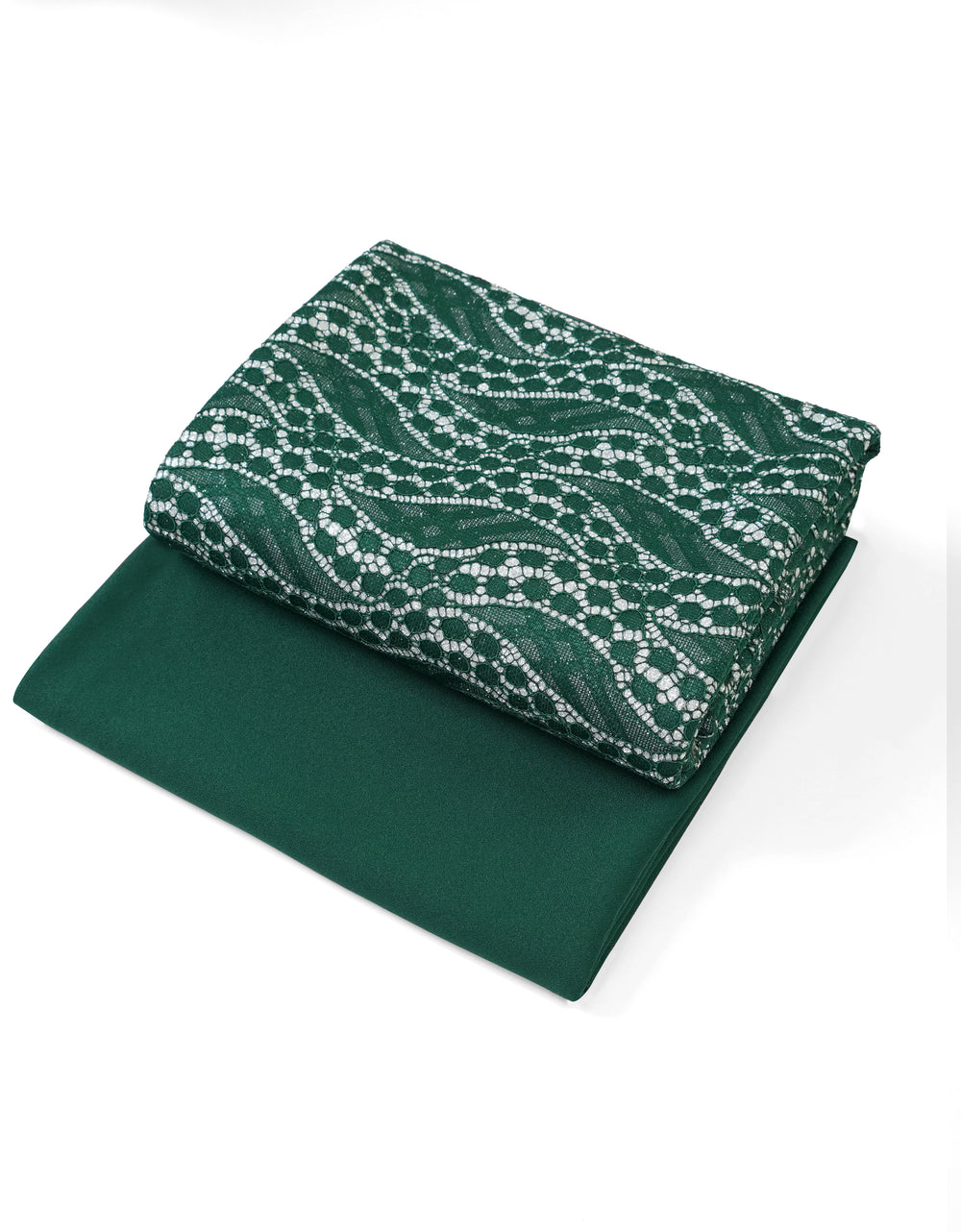Glitter Bonding Lace Emerald Green + Umo Crepe Gable Green (Abstract Wavy)