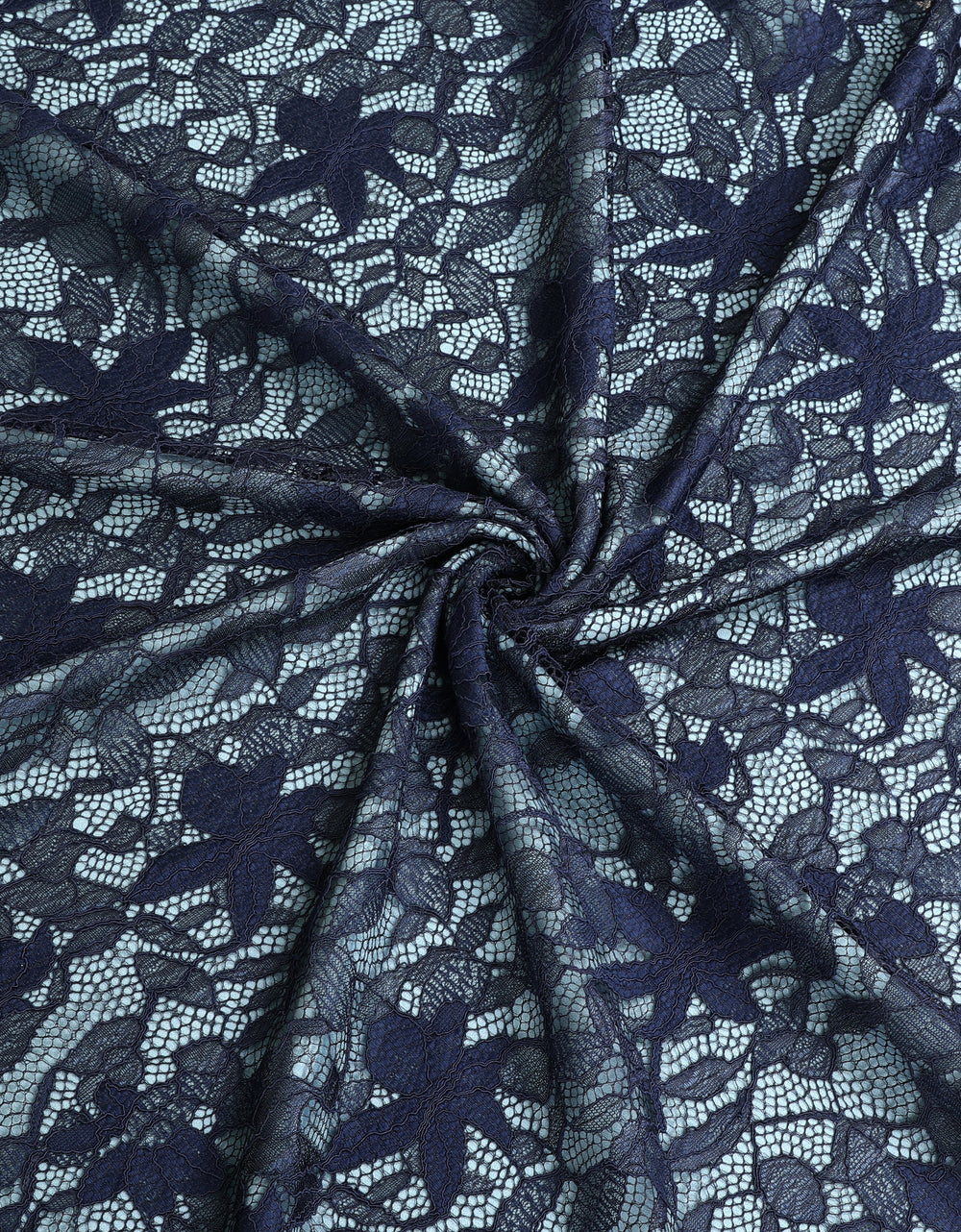 Single Tone Lace Navy Blue + Umo Crepe Casper Blue (Glitter Orchid)