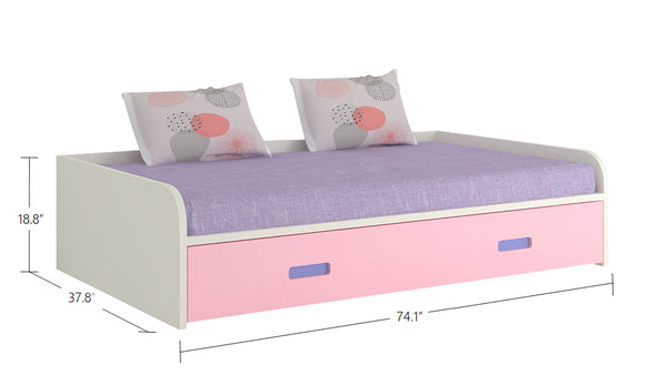 Adona Flora Kids Room Furniture Set w/Trundle Bed, 2-Door Wardrobe, Desk-cum-Bookshelf and Study Chair