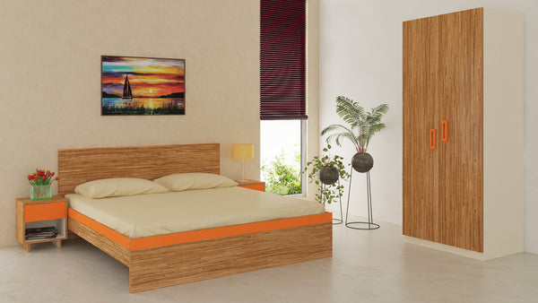 Adona Adonica Fusion Bedroom Furniture Set w/King Bed, 2 Bedside Tables and 2-Door Wardrobe in Plywood