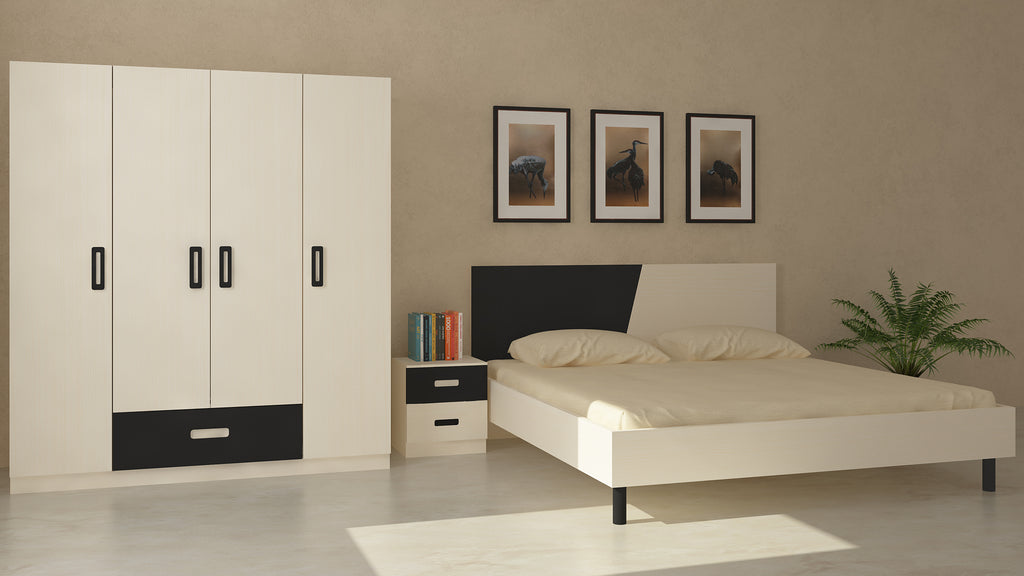 Adona Fiona Light Wood Bedroom Set w/King Bed, Bedside Table and 4-Door Wardrobe