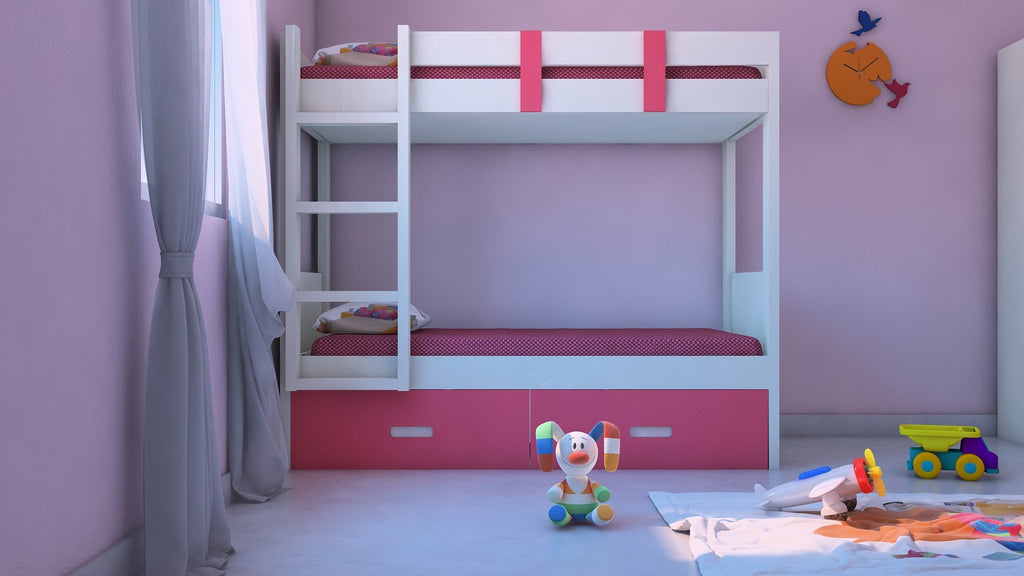 Adona Adonica Twin Bunkbed Left Ladder w/2 Drawers Barbie Pink