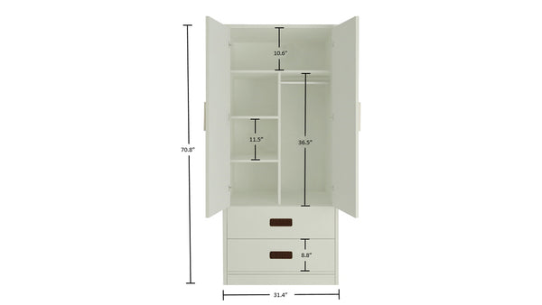 Adona Adonica Wardrobe w/2 Drawers and Regular Hang