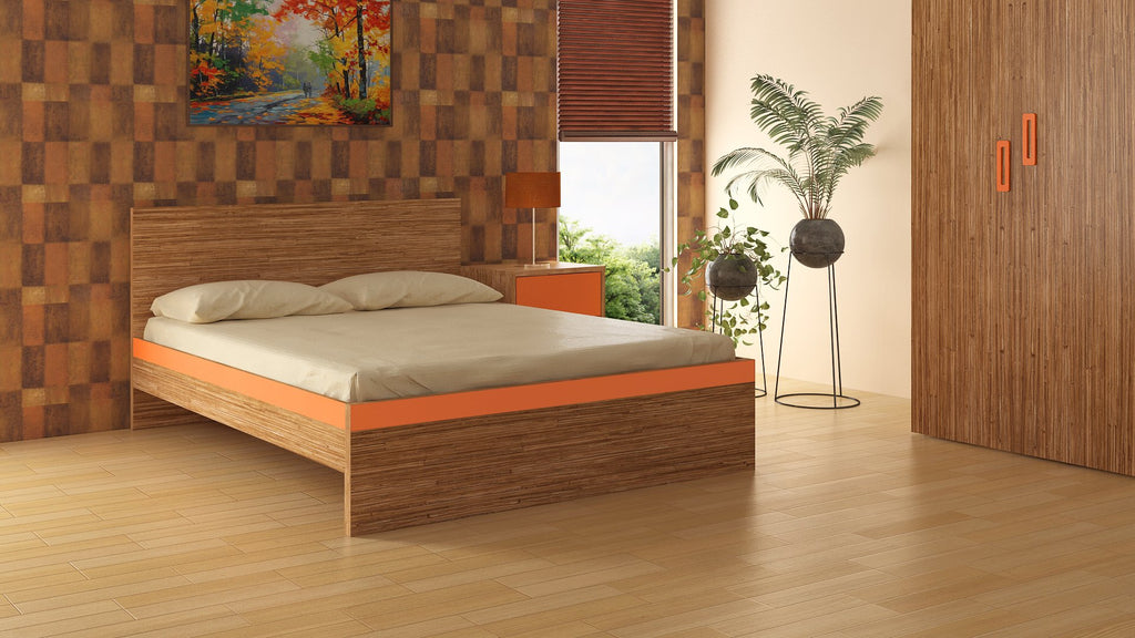 Adona Adonica Fusion Queen Bed Plywood Mauritian Bamboo - Light Orange