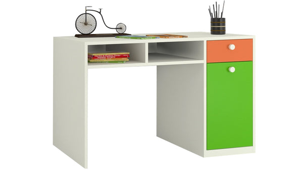 Adona Alana Study Desk w/Cabinet, Drawer and Shelf Light Orange Verdant Green