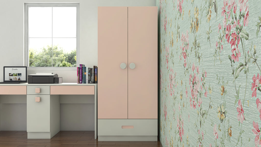 Adona Amelia 2-Door Wardrobe w/Drawer and Round Knob Handles