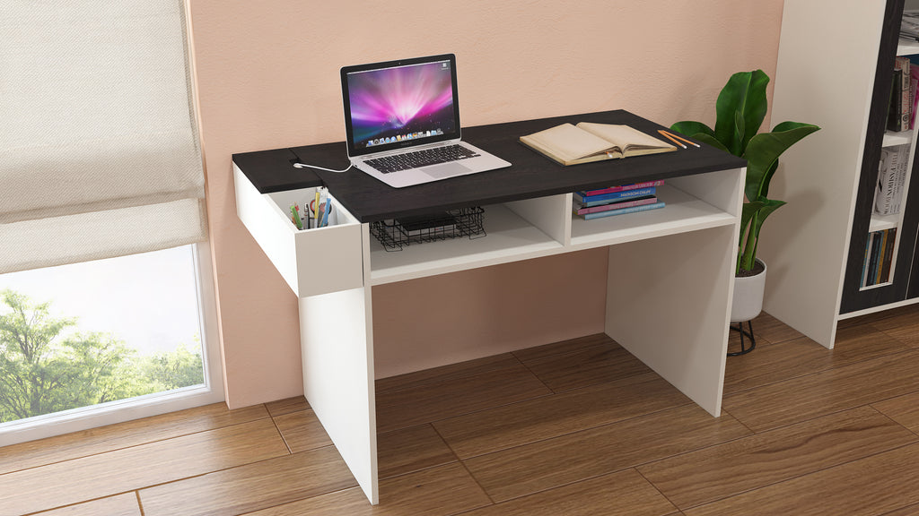 Adona Ariana Study Desk with Shelves and Covered Storage-cum-Wire Extension Box