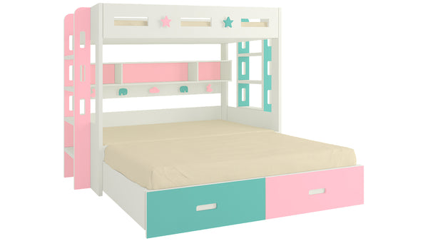 Adona Astra Bunk Bed with Convertible King Size Trundle, Drawers, Shelves, Both Side Ladder and Animal Decals