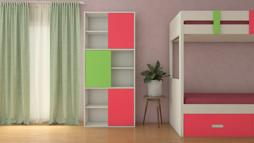 Adona Astra Bookshelf-cum-Storage Cabinet Strawberry Pink - Verdant Green