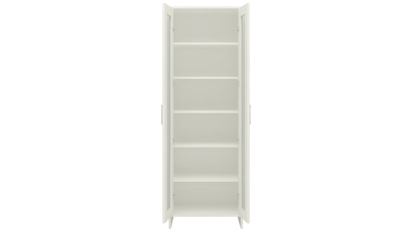 Adona Atlanta Tall Crockery-Cum-Bookshelf Cabinet with Toughened Glass Shutters