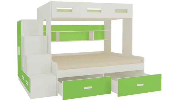Adona Austin Twin Bunk Bed with 4 Ft Lower Bed, Left Storage Steps, Wardrobe, Shelves and Drawers