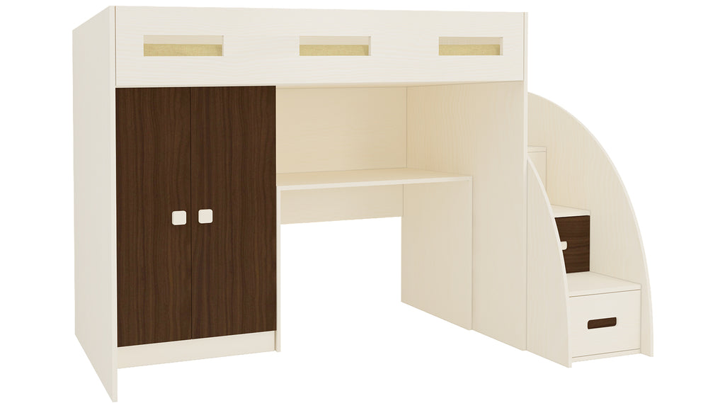 Adona Bonita Light Wood Loft Bunkbed w/Storage Steps, Study Desk And Wardrobe w/Square Handles