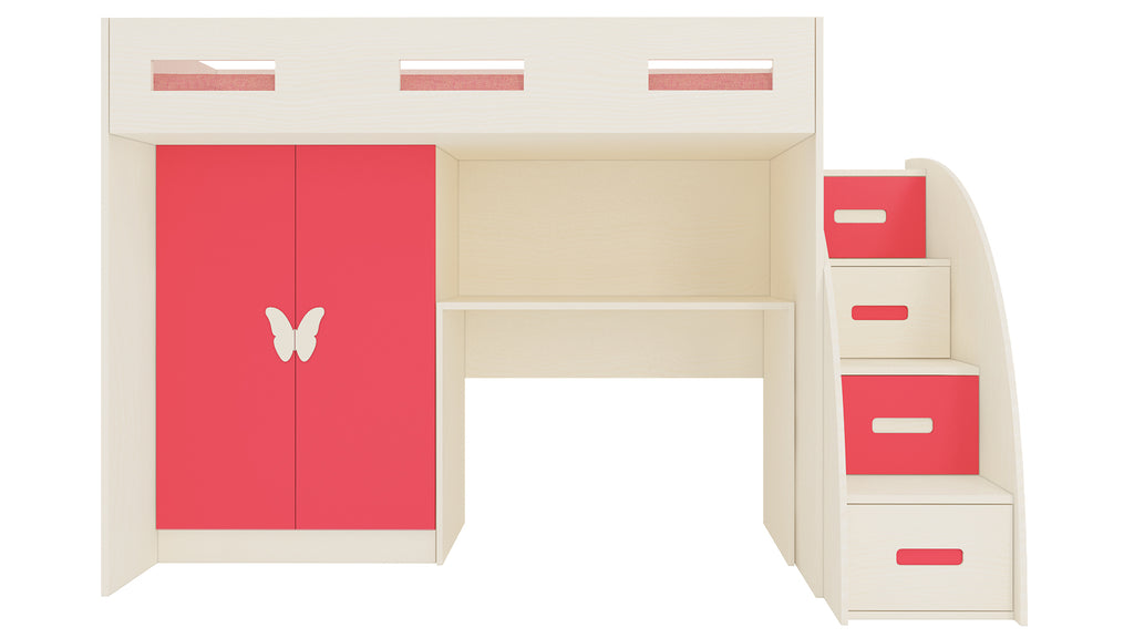 Adona Bonita Light Wood Loft Bunkbed w/Storage Steps, Study Desk And Wardrobe w/Butterfly Handle