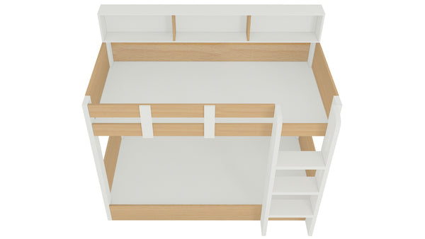Adona Carina Twin Bunk Bed with Front Right Ladder and Open Shelves