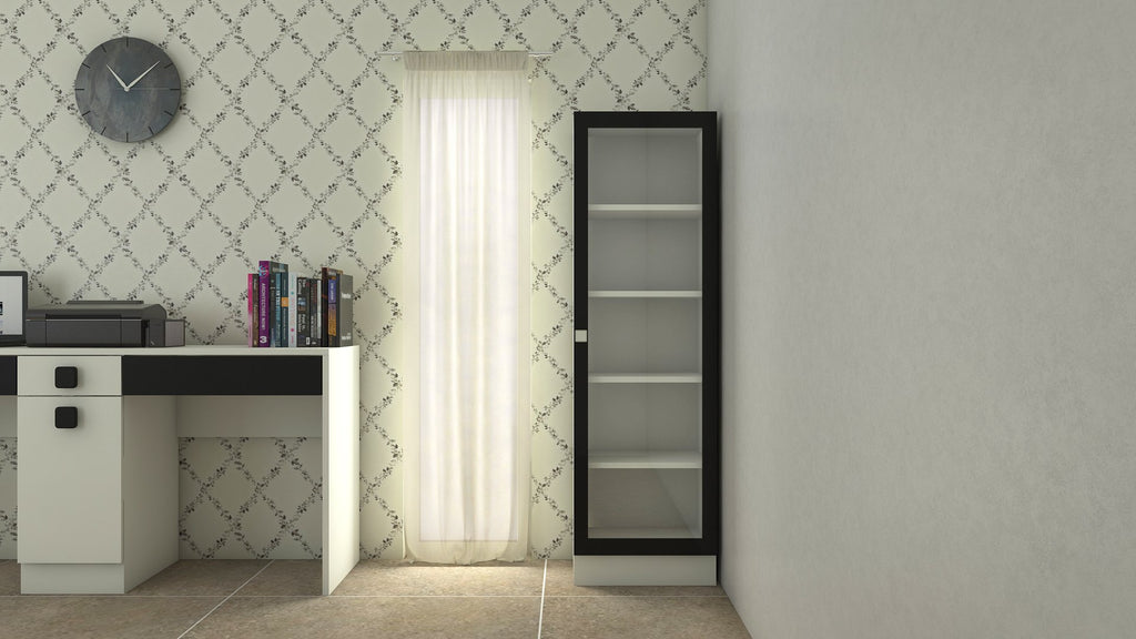 Adona Celestia Bookshelf w/Toughened Glass Carbon Black
