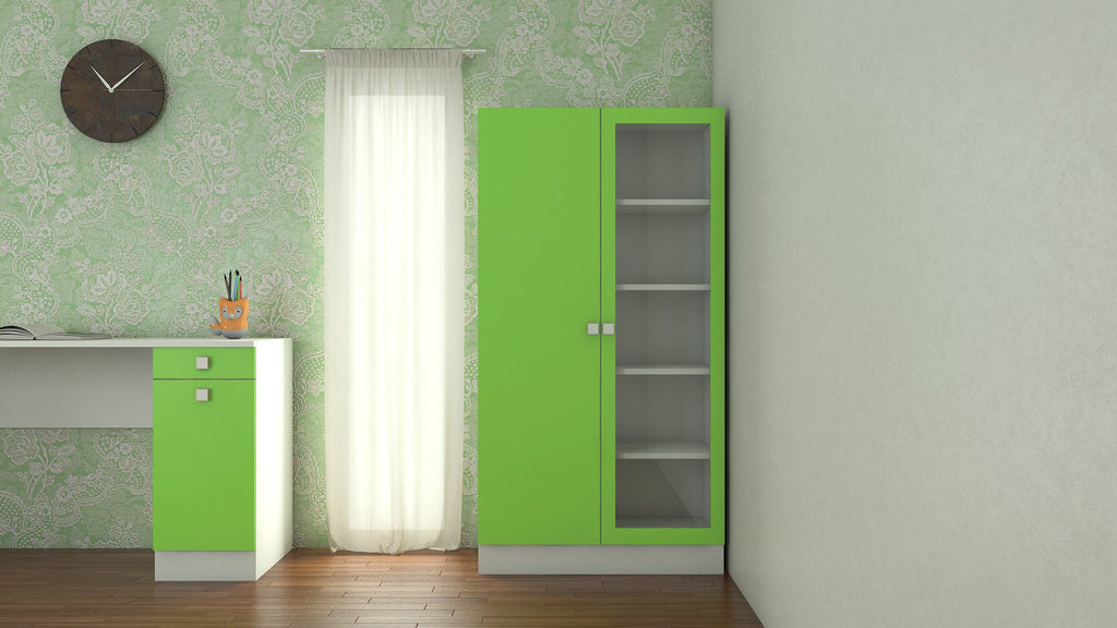 Adona Celestia Double-Door Bookshelf w/Toughened Glass Verdant Green