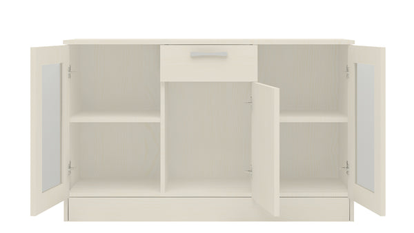 Adona Clara Sideboard-cum-Crockery Cabinet with Drawer and Glass Shutters