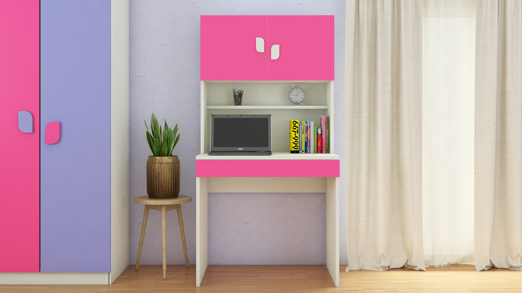 Adona Corolla Kids Study Desk with Drawer, Built-In Bookshelf and Petal Handles