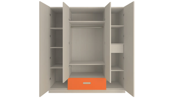 Adona Elanza 4-Door Kids Wardrobe W/Drawers and Grooved Handles Light Wood-grain Finish