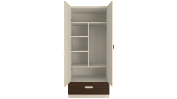 Adona Elanza Light Wood 2-Door Wardrobe W/Drawer and Oval Handles