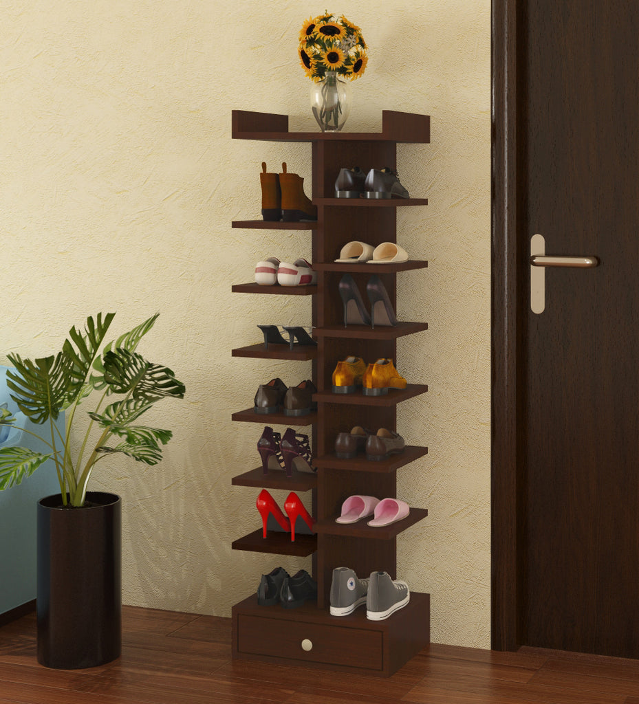 Adona Elanza Open Shoe Rack w/Bottom Drawer
