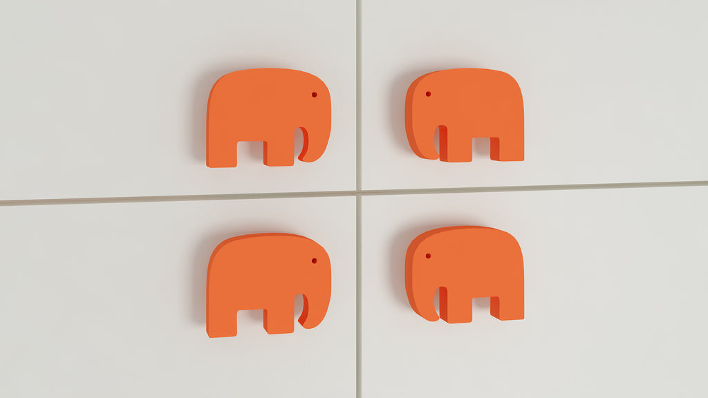 Adona Elephant Shaped Kids Cabinet and Drawer Knobs - Set of 4 (2 Pairs)
