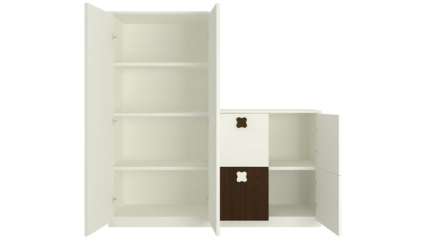 Adona Ellora Ivory Double Door Storage-cum-Bookshelf