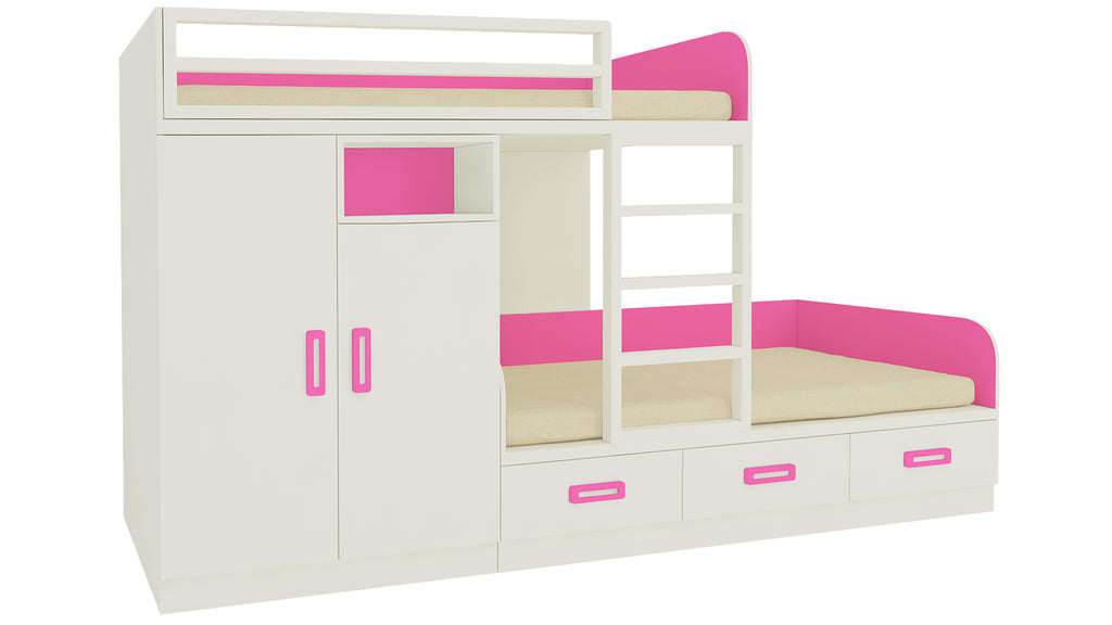 Adona Eskada Twin Bunk Bed with Left Wardrobe, Drawers, Open Shelves and Wooden Ladder Barbie Pink
