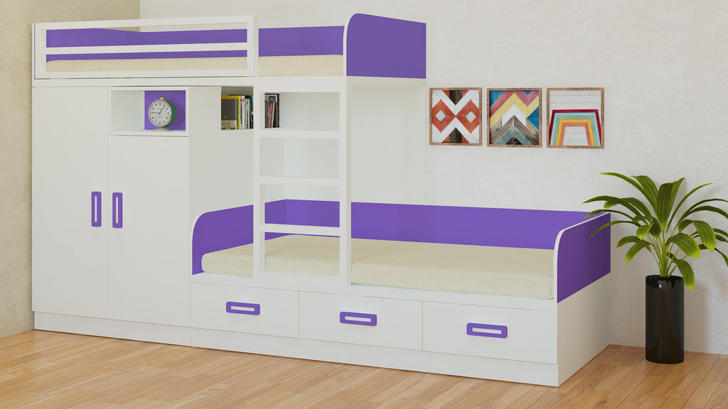 Adona Eskada Twin Bunk Bed with Left Wardrobe, Drawers, Open Shelves and Wooden Ladder