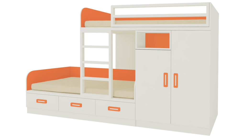 Adona Eskada Twin Bunk Bed with Right Wardrobe, Drawers, Open Shelves and Wooden Ladder