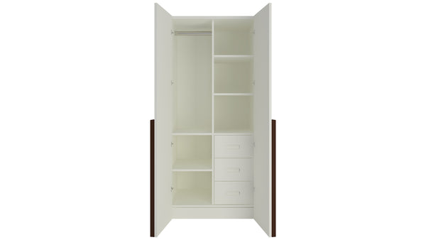 Adona Evita 2-Door Wardrobe with 3 Drawers and Long Handles