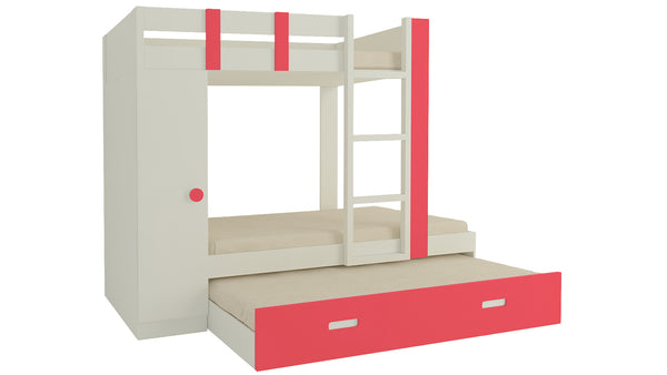 Adona Evita Twin Bunk Bed w/Trundle Pullout-cum-Wardrobe