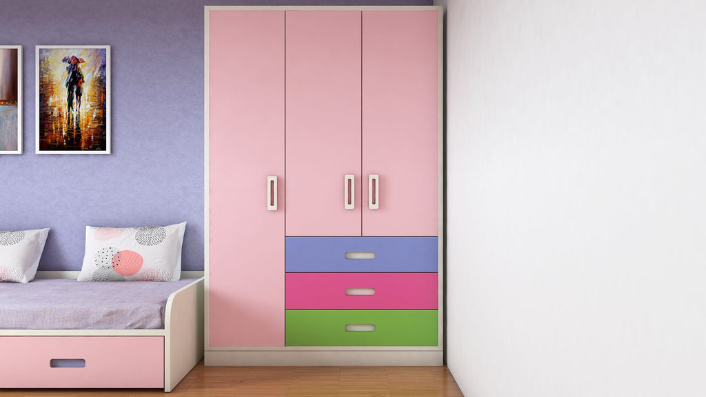 Adona Fiona Light Wood 3-Door Multicolor Wardrobe W/3 Drawers English Pink