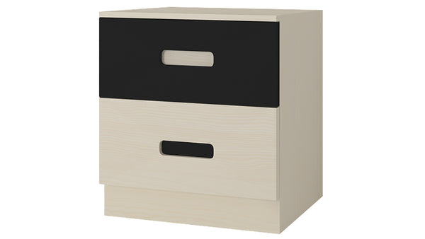 Adona Fiona Light Wood Bedside Table w/2 Handle-less Drawers