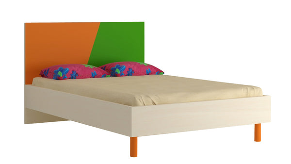 Adona Fiona Compact Double Bed w/Wooden Legs Light Orange - Verdant Green