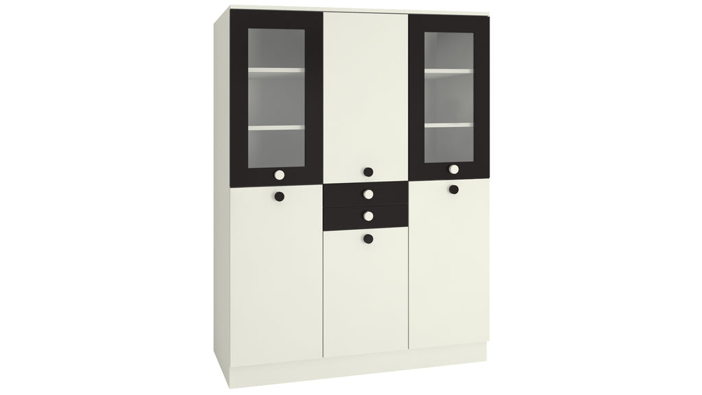 Adona Lara 3-Door Wardrobe w/2 Drawers and Toughened Glass Shutters