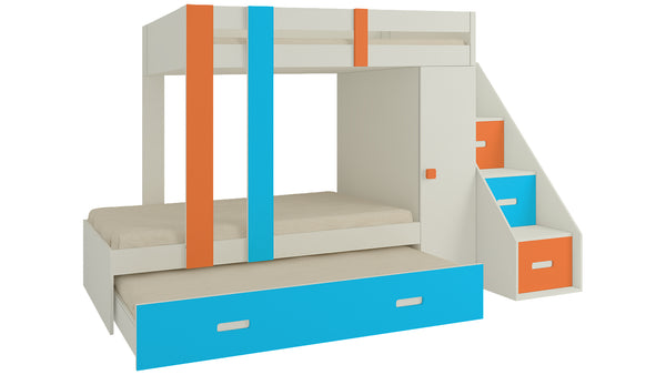 Adona Luxuria Bunk Bed with Pull Out Trundle, Wardrobe, Drawers and Right Storage Steps