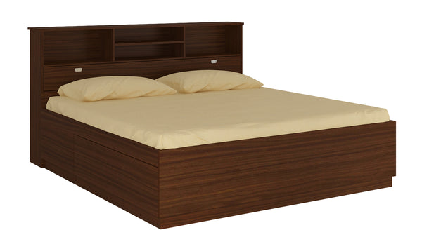 Adona Manzanita King Bed in Plywood w/Inbuilt Headboard Storage and Drawers