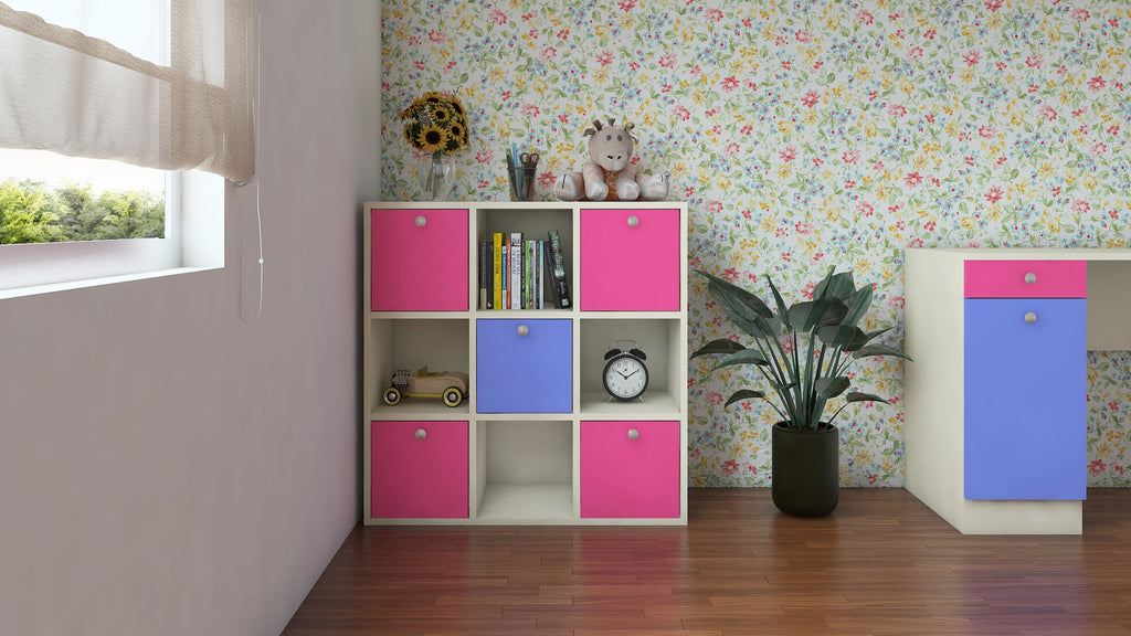 Adona Milano Kids Light Wood Cube Storage Cabinet Barbie Pink - Persian Lilac