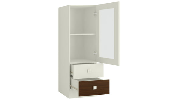 Adona Minerva Bookshelf-cum-Storage Cabinet with Glass Shutter and 2 Drawers