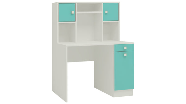 Adona Minerva Kids Study Desk with Drawer, Cabinets and Built-In Bookshelf