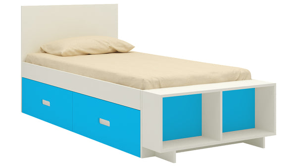 Adona Minerva Single Bed with Footboard Storage Cabinet and Drawers