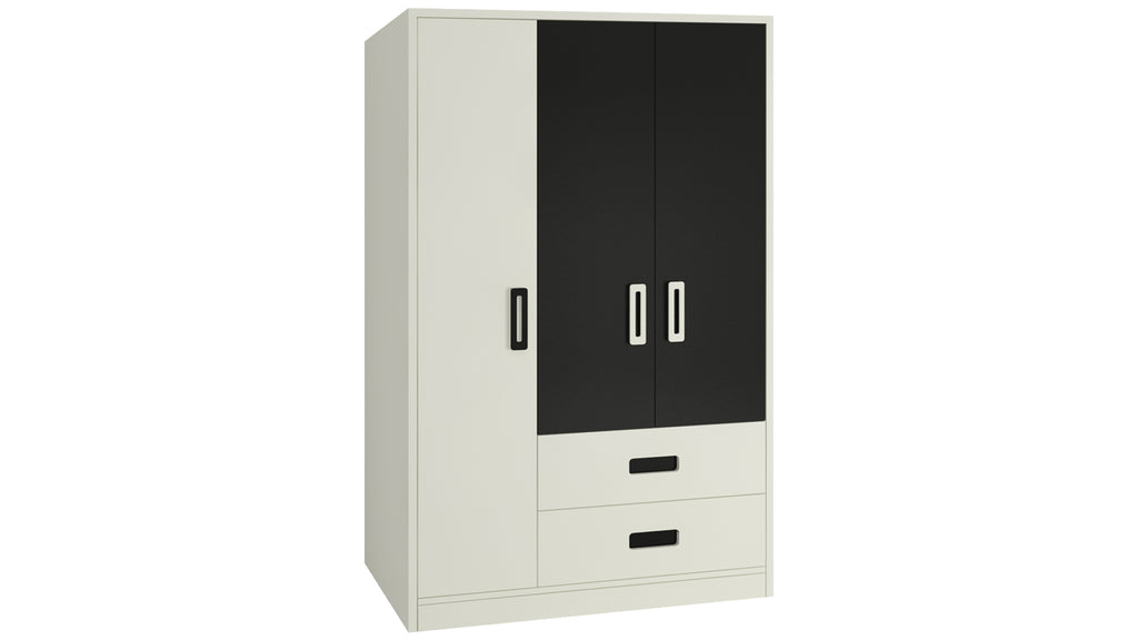 Adona Nora 3-Door Wardrobe w/2 Drawers and Grooved Handles