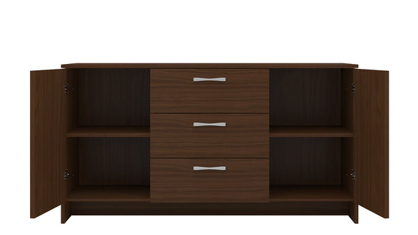 Adona Novara Large Sideboard-cum-Crockery Cabinet with Shelves and 3 Drawers