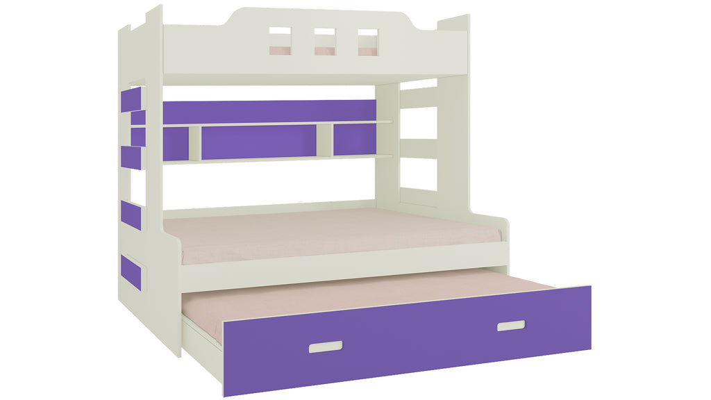 Adona Odessa Bunk Bed with 4 Ft Lower Bed, Pull Out Trundle, Shelves and Both Side Ladder