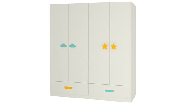 Adona Palencia 4-Door Kids Wardrobe with 4 Drawers Cloud and Star Handles
