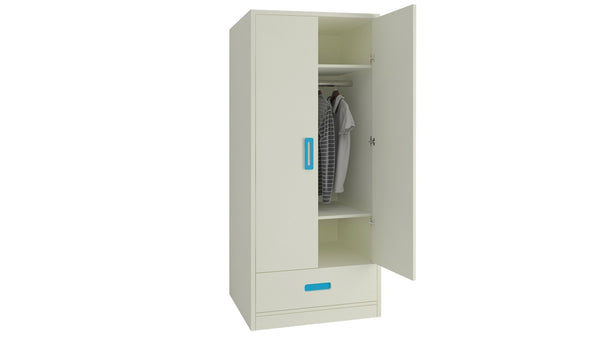 Adona Palencia Wardrobe w/Drawer and Grooved Handles Azure Blue