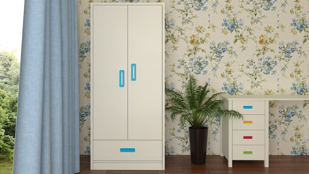 Adona Palencia Wardrobe w/Drawer and Grooved Handles