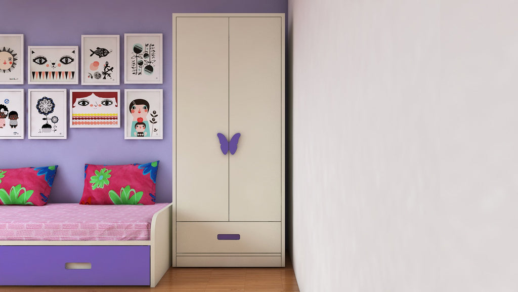 Adona Palencia Wardrobe w/Drawer and Butterfly Handles Lavender Purple